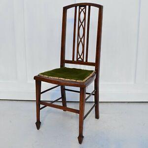 Edwardian Inlaid Mahogany Decorative Salon Lounge Stand Chair