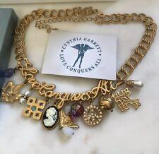 Cynthia Garrett Love Conquers All Multi Charm Necklace Peace Cross Pearl New
