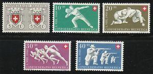 Switzerland 1950 MNH Mi 545-549 Sc B191-B195 Red Cross & Sport types