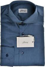 $ALE Brioni Dress Shirt Cotton Silk Small I Blue Stripe 03SH0582 $575 Imperfect
