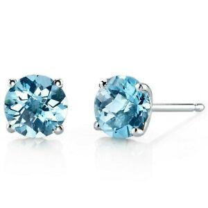 2 ct Round Swiss Blue Topaz Stud Earrings in 14K White Gold