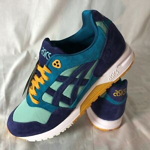 Asics Tiger Gel Saga Suede Running Shoes Men's Size 9 Blue Teal Sage Peacoat NEW