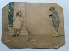 Antique Print Little Boy Taking Picture of Girl - Brownie Camera Advertisement?