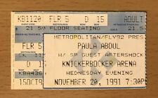 1991 Paula Abdul Forever Your Girl Albany N.Y. Concert Ticket Stub Straight Up