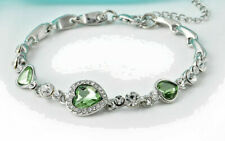 Bracelet-by The Costume Jewelry King Green Crystal Rhinestone Heart Charm Bangle