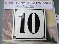 Emaille-Hausnummer Nr. 10  schwarze Zahl auf weißem Hintergrund 12 cm x 12 cm