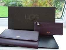Gorgeous 100% Authentic UGG Purple Leather Purse Wallet Removable Coin Purse