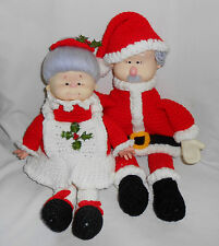 """Crochet 15"""" SANTA & MRS. CLAUS Pair Set Finished Complete Christmas Hollow Dolls"""
