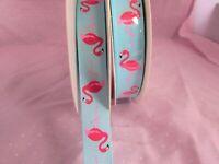 16mm Grosgrain Ribbon Flamingo Pattern in Blue & Pink 1m, 5m, 10m & 25m lengths