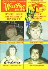 Sbg55 Superstar Graham signed Wrestling Magazine w/Coa Sammartino Backlund