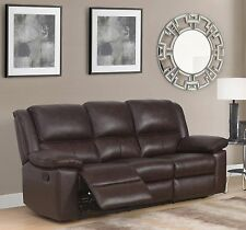 Brown High Grade Genuine Leather 3 Seater Reclining Recliner Sofa TOLEDO