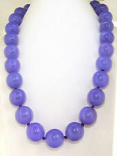 """HUGE 14mm Natural Green Jade Round Beads GEMSTONE Necklace 18"""" AAA"""