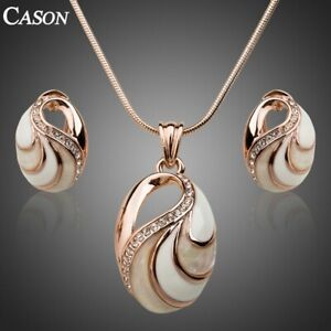 Women Enamel Pendant Earrings Jewelry Set 18K Gold Plated Austrian Crystal Gift