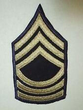 Military US Master Sergeant Insignia Chevron Patch- Blue & Silver Khaki Thread