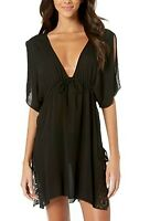 BECCA by Rebecca Virtue Muse Tunic Cover-Up Black Women's Swimwear Size M/L 0181