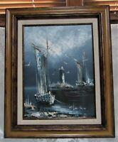 Rikard Lindstrom Nautical Seascape Impasto Oil on Canvas Painting * Framed