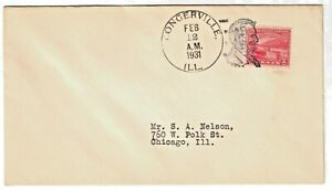 US 1931 Lincoln's Birthday Fancy Cancel of Lincoln Congerville, Illinois