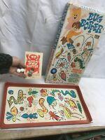 Vintage 1960s Bug Bopper Magnetic Action Toy Game Board