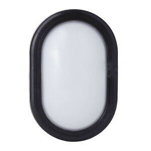 LED Wall Light Bulkhead IP65 5.5 Watt Compact Utility Outdoor - Oval Col. Black
