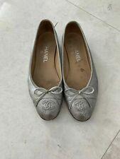 CHANEL Paris Silver Ballerina Flats – Very elegant and chic. Size EU 37 (US 7)