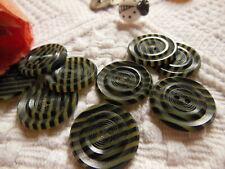 lot 6 boutons anciens strié noir diamètre 2,2 cm ref 2289