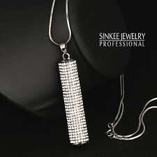 Women Vintage Cubic Zircon Cylindrical Pendant Long Necklace Black Chain MY356