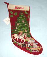 Sferra Christmas Toys Needlepoint Christmas Stocking Monogrammed HUNTER New