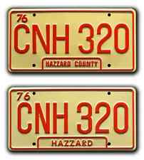 Dukes of Hazzard / General Lee Double CNH 320 *STAMPED* Prop License Plate Combo