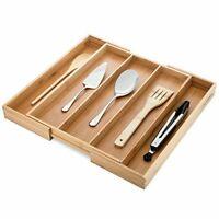 Kitchen Drawer Organizer Cutlery Utensil Tray Bamboo Divider Adjustable Storage