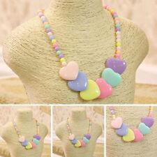 Fashion Children Kid Girls Necklace Chunky Beads Heart Shaped Pendant Jewelry