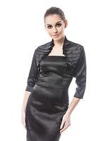 Women Top Satin Ruffle Bolero Shrug Jacket Three Quarter Length Sleeve S/M/L/XL