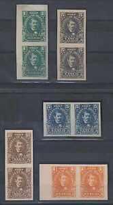 HONDURAS 1907 MEDINA Sc 119, 121, 123 & 126 FIVE IMPERF PAIRS, BLACK PLATE PROOF