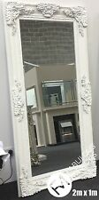 LARGE Stunning French White Decorative Ornate Beveled Mirror - 2m x 1m - PARIS