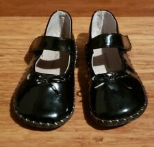 Pediped 12-18Month Black Patent Leather Accent Bow Detail Stitch Mary Jane Shoes