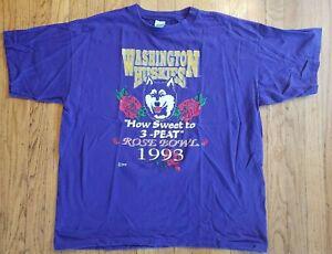 Vintage (1993) UNIVERSITY OF WASHINGTON HUSKIES Rose Bowl '93 football T-SHIRT