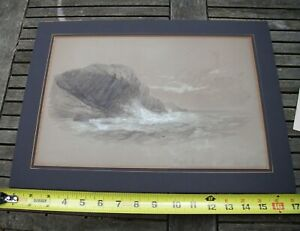 Antique MAINE Watercolor-GREAT HEAD-Mt Desert Island-Dated 1880!-Matted-NR