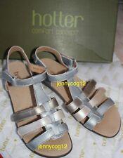 Hotter SOL COMFORT CONCEPT Metallic Open Toe Low T-Bar Slingback Sandals 6.5 EXF