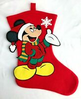 Vintage Mickey Mouse Christmas Stocking By Mickey Unlimited Disney Red Green
