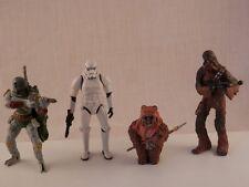 Star Wars 2007 action figures Storm Trooper , Chewbacca, Boba Fett, Ewok