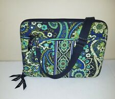 Vera Bradley Blue/Green Floral Mini Laptop Quilt Padded Hard Side Tote Case/Bag
