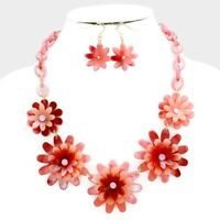 Flowers Necklace Set Women Earrings Gold Plated Crystal Centers NEW