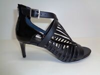 Calvin Klein Size 8.5 M CAMELLA Black Patent Leather Sandals New Womens Shoes