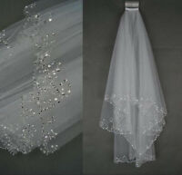 New 2 Tier White/Ivory Sequins Beaded Edge Wedding Bridal Veil With Comb