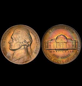 AU58 1940-D 5C Jefferson Nickel, PCGS Secure- Pretty Rainbow Toned