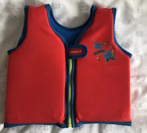 Speedo Sea Squad Vest Swim Aid Jacket Size 2-4 Years Boy Unisex Red