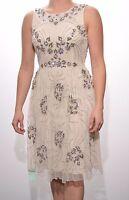 Embellished dress tea cream flower detail sequins beaded PROM BALL Size 6/10/12