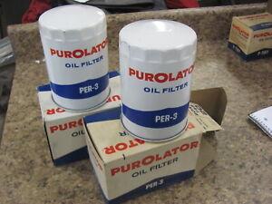 (2) NOS Purolator PER-3 Oil Filters Rambler Packard Studebaker Hudson 58-63