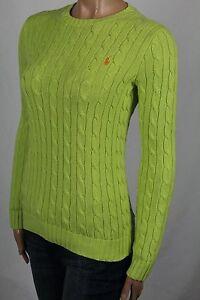 Ralph Lauren Green Cable Knit Crewneck Sweater Orange Pony NWT