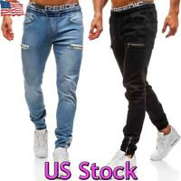 US Men Elasticated Waist Jeans Slim Fit Joggers Denim Pants Stretch Drawstring