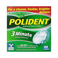 Polident 3 Minute Tablets Denture Cleanser, 40 Tablets (Pack of Two)